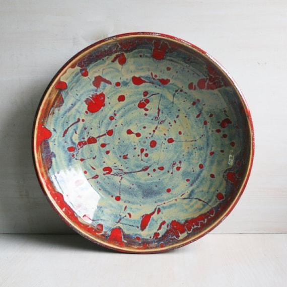 Ceramic Bowl Center Piece Multi Colored Shallow Bowl Serving