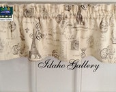"""French Script on Crème Window Valance 14"""" Curtain Modern Bedroom Kitchen Curtain Idaho Gallery"""