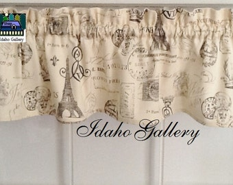 "French Script on Crème Window Valance 14"" Curtain Modern Bedroom Kitchen Curtain Idaho Gallery"