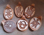 Set of Six Rock Art Southwestern Pendants