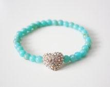SALE: Gold Pave Heart & Acrylic Jade Bead Bracelet