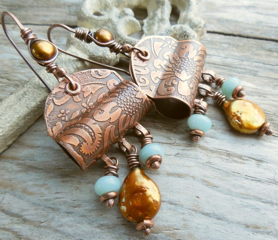 Copper Metalwork Earrings with Golden Yellow Pearl, Iceberg Blue Amazonite and Sunflower Floral Etching Provence