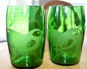Little Birdie Etched Perrier Water Bottle Glasses