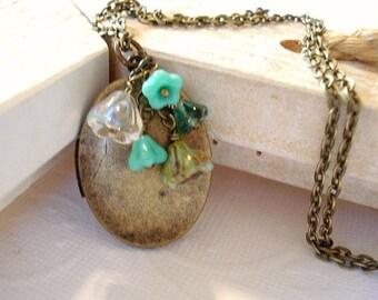 Turquoise Locket Brass Oval Locket Mom LocketJewelry Turquoise Bell Czech Flowers
