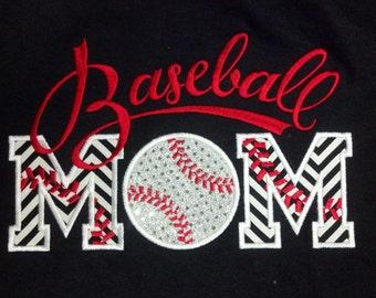 Baseball Mom custom personalized shirt Name Included Adult Chevron Womens Team School Spirit