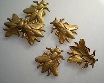 6 medium brass wasp charms