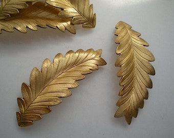 6 large brass leaf charms