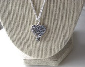 Sterling Silver Pattern Heart and Freshwater Pearl Pendant Necklace on Sterling Silver