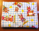 Easter Burp Cloth for Baby - Bunnies and Chicks on Blue and White Gingham - Cotton and Chenille