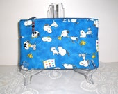 Small Snoopy Bag/Pouch -  Blue - Zipper Closure