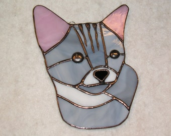 Tiger Cat Stained Glass Suncatcher