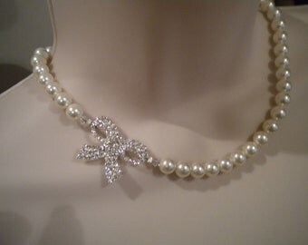 Bridal Necklace with Rhinestone Bow, Pearl and rhinestone bow necklace, rhinestone and pearl necklace PN070