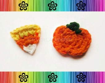 PATTERN-Crochet Pumpkin and Candy Corn Applique-Perfect for Halloween and Autumn
