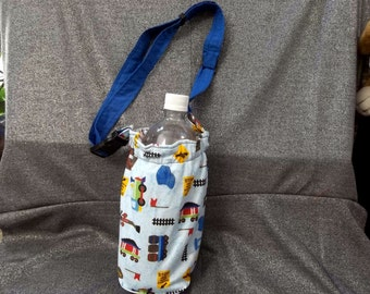 Insulated Water Bottle Holder, Trains on Blue Print