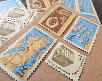 Golden History II .. Vintage UNused Postage Stamps .. to post 5 letters