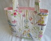 CLEARANCE SALE-Quilted Shoulder Bag Tote Bag Purse in Lovebirds Together Print
