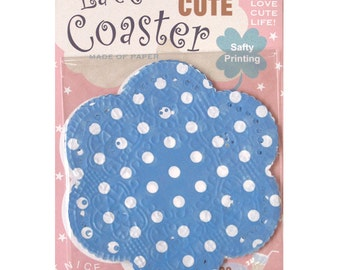 Season Lace Paper Doily - Blue Polka Dots - pack 20