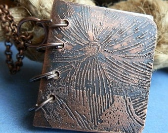 tiny etched copper journal book necklace... Jewelry...  Lf 401