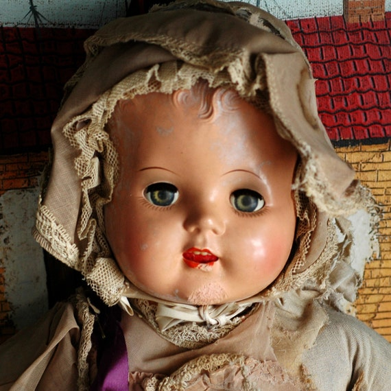 life wasn't easy for this SCHILLING talking doll...  antique doll... collectibles... toy... Home Decor...T5  L