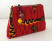 Red and Black AFRICAN Wax Print CLUTCH PURSE