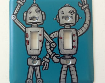 Hand Painted Double Robot Light Switch Plate - Signed & Numbered by Artist