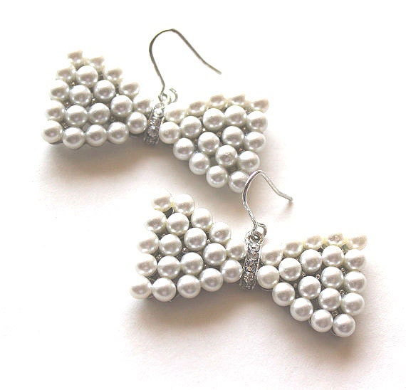 White pearl and clear crystal bowtie silver earrings CLEARANCE