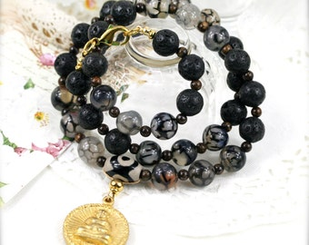 Amiable and warmhearted (unisex) necklace - dragon vein agate, lava, bronzite and Dzi bead (BA)