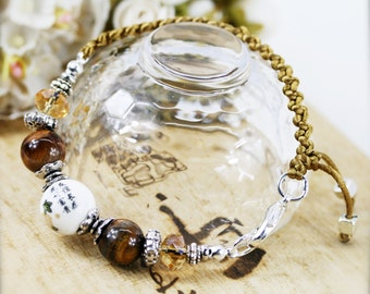 Friendship and well wishes unisex bracelet -  tiger eye