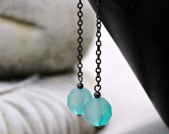 Long Chain Dangle Earrings - Aqua Blue, Mint, Black