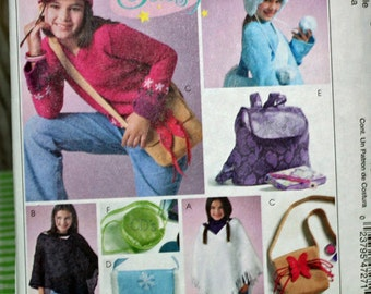 McCall's M4727 Girls' Poncho, Hats and Accessories, All Sizes, UNCUT
