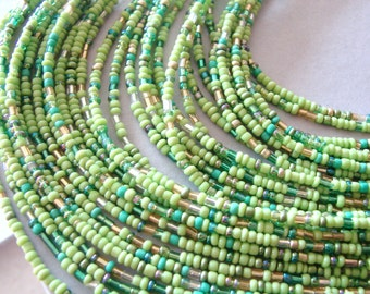 SALE- Cascading spring green beaded necklace with silver