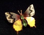 Vintage Enamel Green Rhinestone Butterfly Brooch Pin
