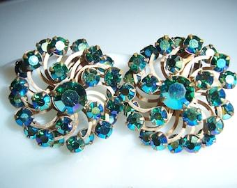 Vintage Ann Vien Blue AB Aurora Borealis Crystal Rhinestone Earrings