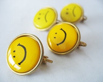 Happy Face Sad Face Earrings Yellow Clip On Goldtone