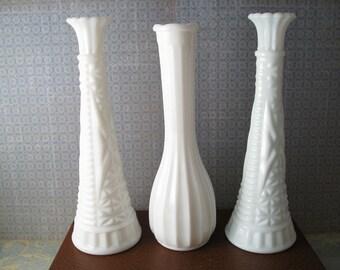 Milk Glass Vase Set of Three