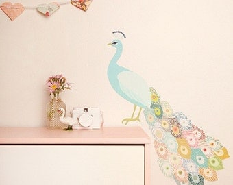 Fabric Wall Decal - Peacock Plumage (reusable) NO PVC