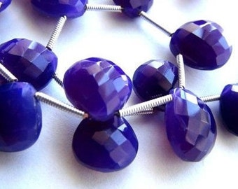 SALE, Chalcedony, Faceted, Heart, Briolette, Purple, Beads, Beads, Jewelry Making