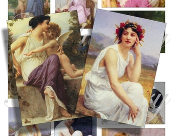 Guillaume Seignac paintings alterate art images for cards, ACEO, ATC, scrapbook and more Digital Collage Sheet 3 X 2 inch No.1161