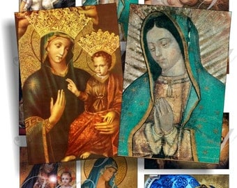 Virgen Mary images for cards, ACEO, ATC, scrapbook and more Digital Collage Sheet 3 X 2 inch No.310