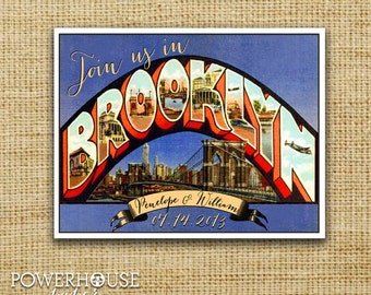 Greetings from Brooklyn Vintage Postcard Save the Date
