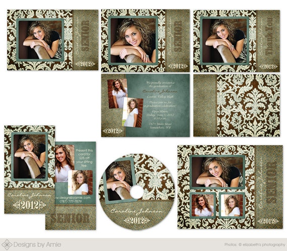 Uptown photo senior graduation template set announcement for Free senior templates for photoshop