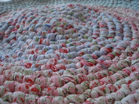 Reserved for  Susie Mackenzie (suserowe)-----Cottage Summer  Hand Crochet OVAL rug 36 inch diameter to 40 inch oval  Recycle Rag Rug