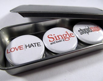 Anti-Valentine Magnet Trio 1 / ready for gift giving / 3 piece set / locker magnets / refrigerator magnets  / office magnets