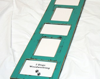 Collage Picture Frame Multi 5 opening for 4x6 or 5x7 images vertical and horizontal mix shabby distressed collage multiple opening