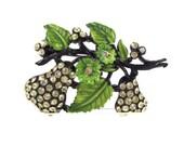 Fancy Fruit - Vintage 1950s Hollycraft Rhinestone Pear Brooch, Beautiful Lime Green Enameling & Black Japanned Finish, Sparkling Fruit