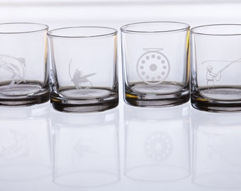 Fly fishing etched rocks glasses - set of 4