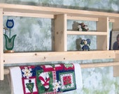 "Unfinished 36"" Curio Shelf withTowel or Quilt Bar solid pine wood cd,s books made USA"