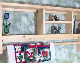 """Unfinished 36"""" Curio Shelf withTowel or Quilt Bar solid pine wood cd,s books made USA"""