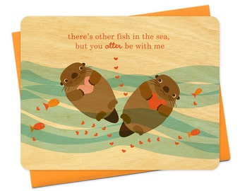 otter be with me love anniversary valentine birch wood notecard - wc831