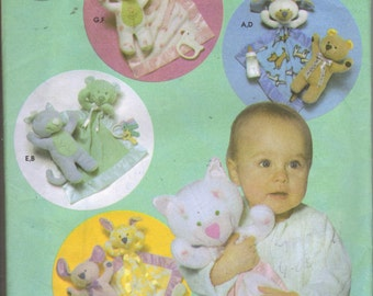 Animal Blanket and Toy Pattern, Kitty, Bunny, Puppy, Teddy Bear for Babies